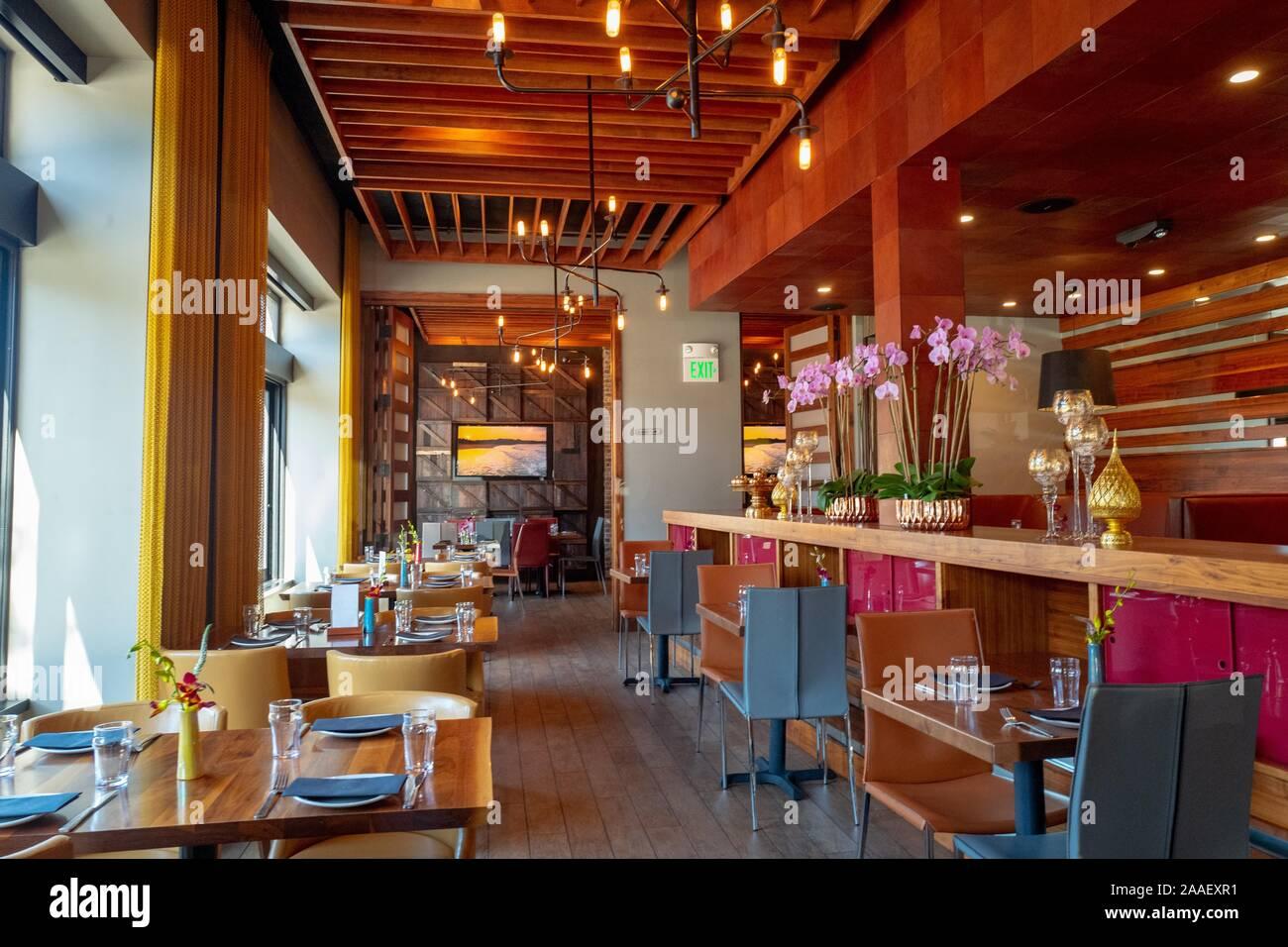Interior of Torsap Thai Kitchen upscale Thai cuisine restaurant in Walnut Creek, California, July 29, 2019. () Stock Photo