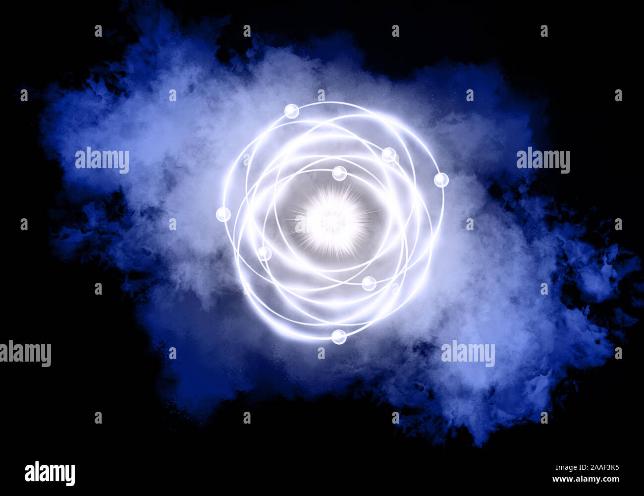 Colorful atomic particle background science. Atomic structure. And color smoke. Stock Photo