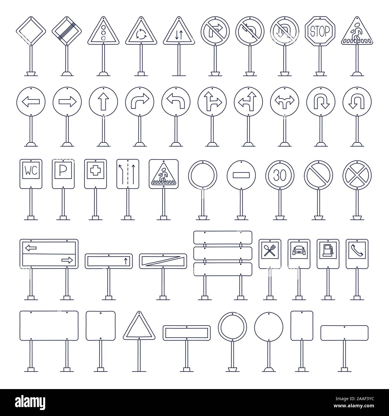 Vector mega set of doodle road signs. Hand-drawn traffic sign icons isolated on white background Stock Vector