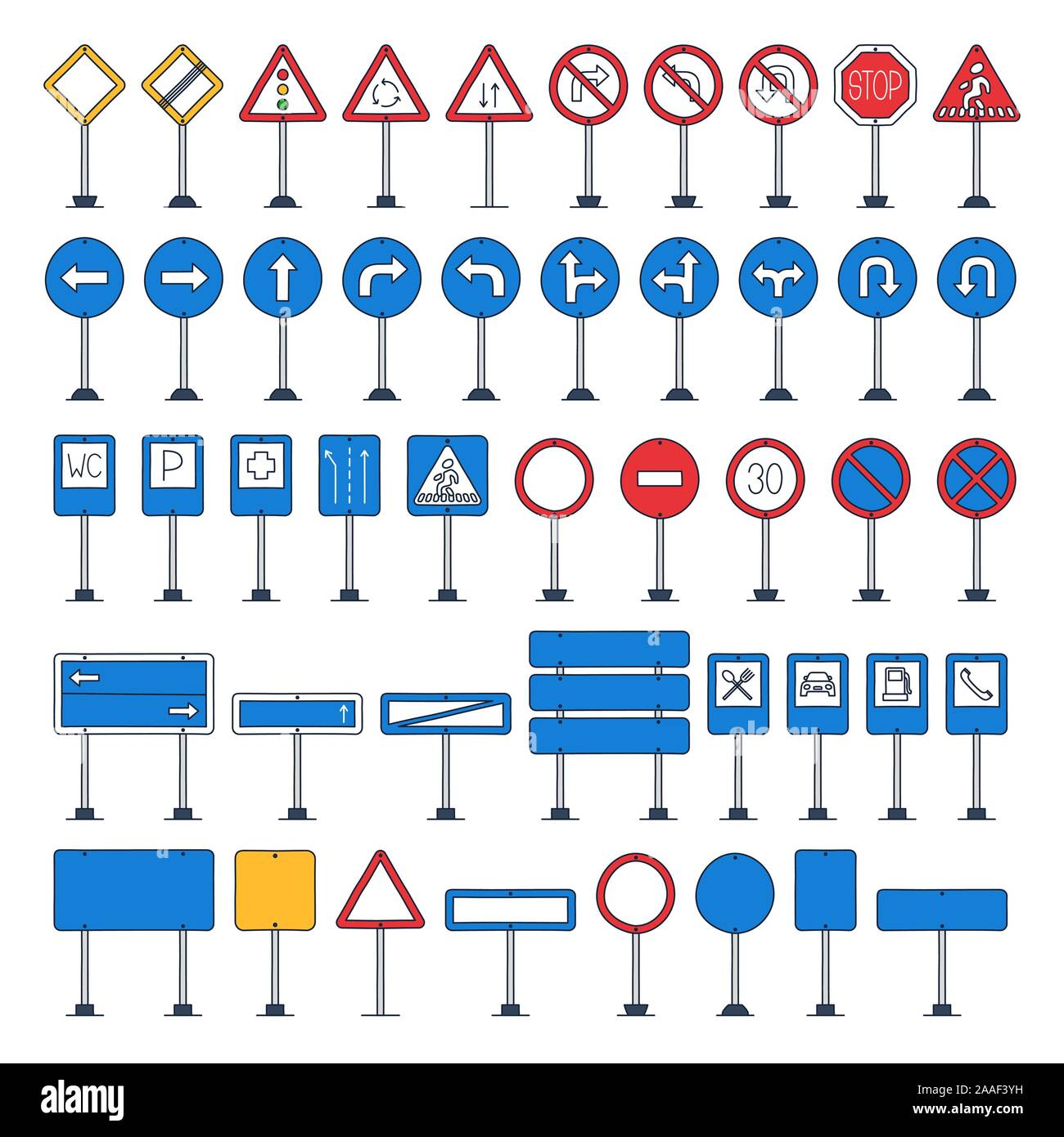 Vector mega set of cartoon road signs with outline. Hand-drawn traffic sign icons isolated on white background Stock Vector