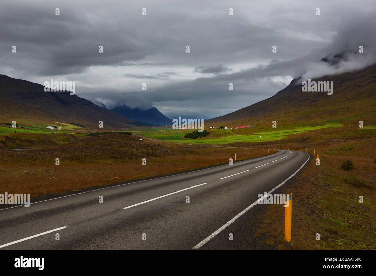 Icelandic ring road highway 1 through mountains area, Iceland Stock Photo
