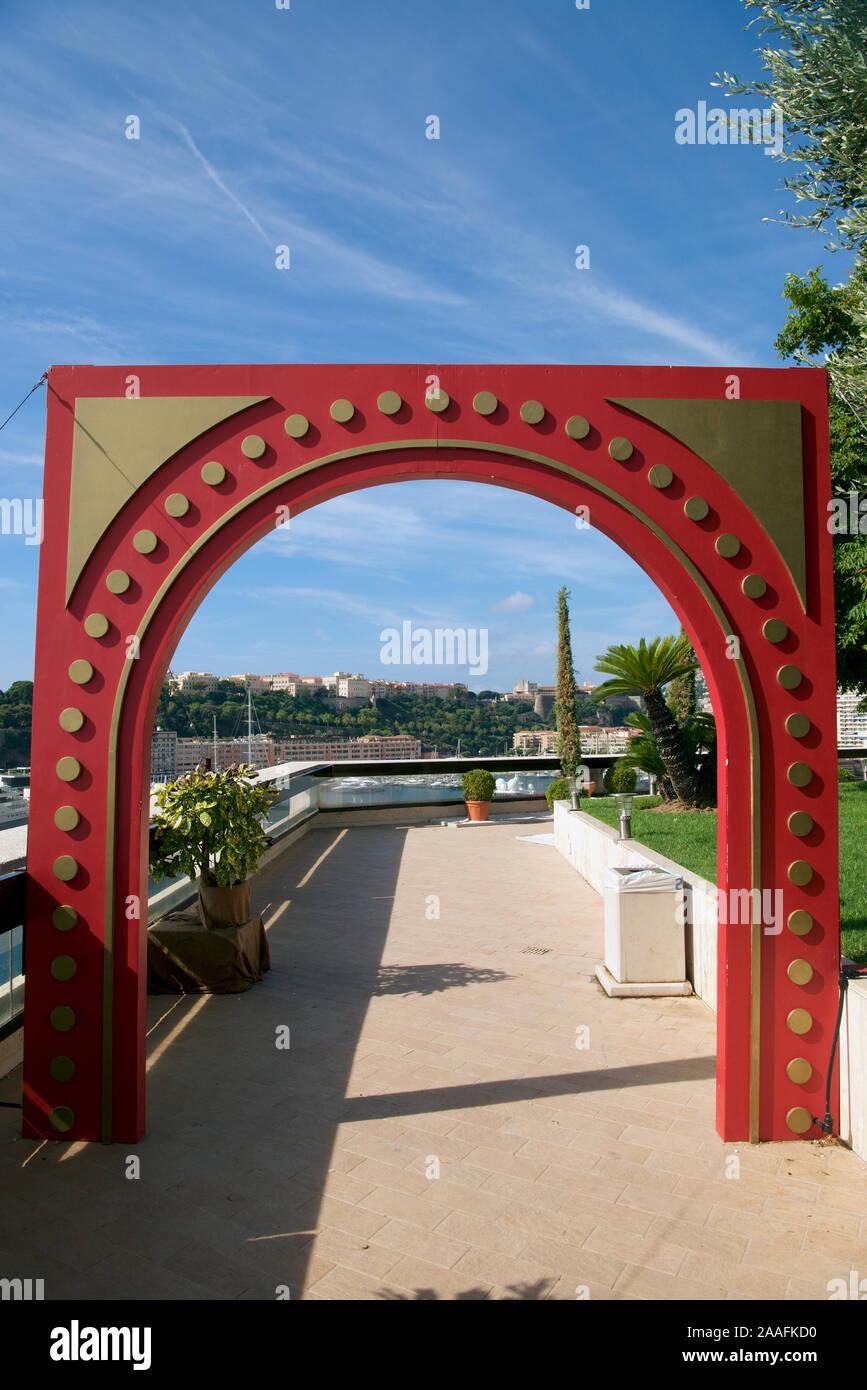 Modern architectural feature Casino gardens Monte Carlo Monaco Stock Photo