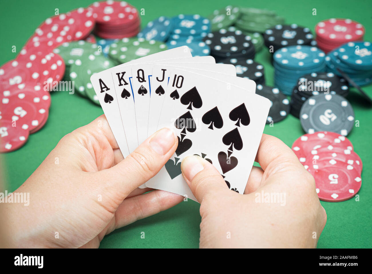 Royal Flush Cards In Female Hands And Poker Chips On Green Flat Lay Background Stock Photo Alamy