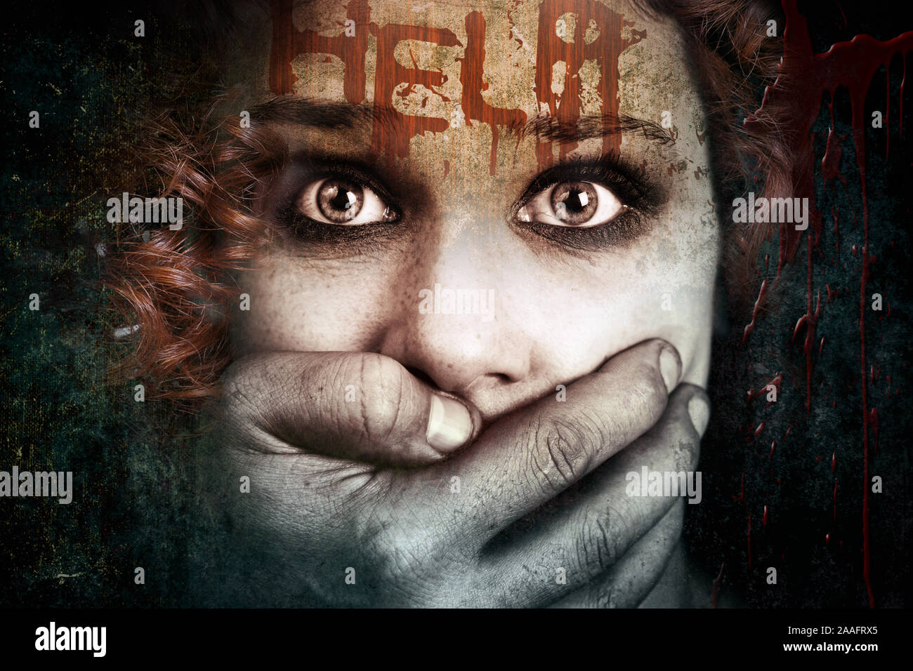 Scared abused woman, victim of physical violence Stock Photo