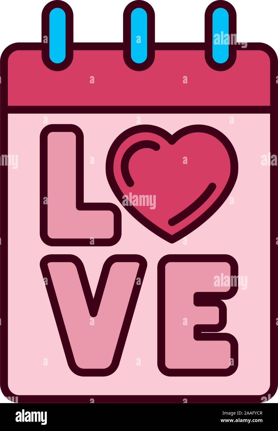 Isolated love calendar icon fill vector design Stock Vector