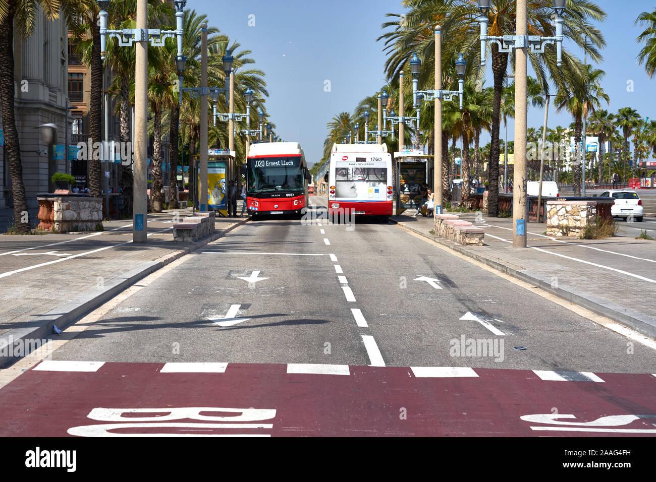 Nahverkehr mit Bussen am Hafen von Barcelona Stock Photo
