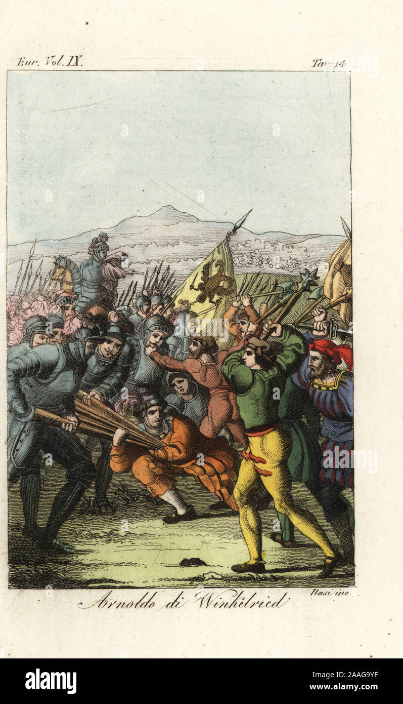 Swiss hero Arnold von Winkelried throwing himself on the Austrian pikes at the battle of Sempach, 1386. Arnoldo di Winkelried. After a painting by Konrad Grob. Handcoloured copperplate engraving by Nasi from Giulio Ferrario's Costumes Ancient and Modern of the Peoples of the World, Il Costume Antico e Moderno, Florence, 1837. Stock Photo