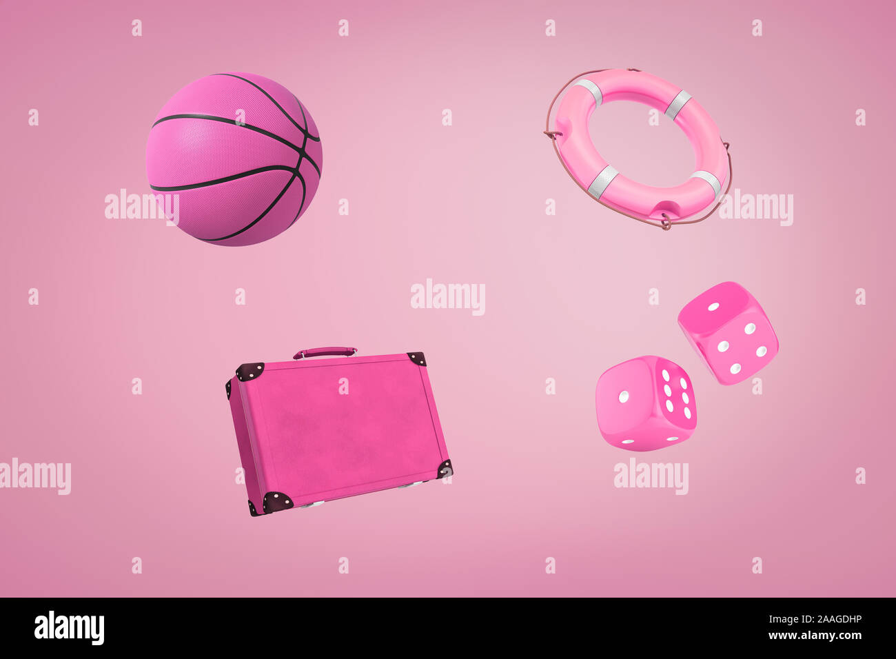 3d Rendering Of Pink Retro Suitcase Basketball Ball Casino Dice And Boat Lifebuoy On Pink Background Digital Art Objects And Materials Travel And Stock Photo Alamy