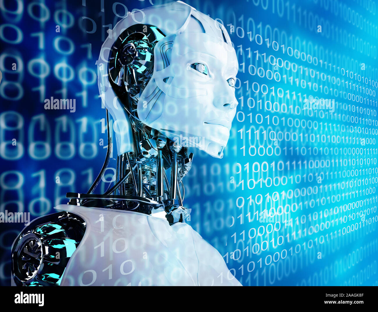 Technology Robot Android Woman Background With A Cyborg Sci