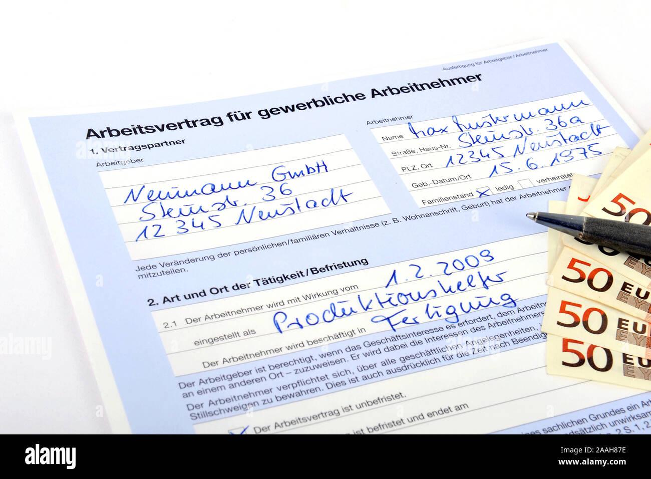 Arbeitsvertrag fuer gewerbliche Arbeitnehmer Stock Photo