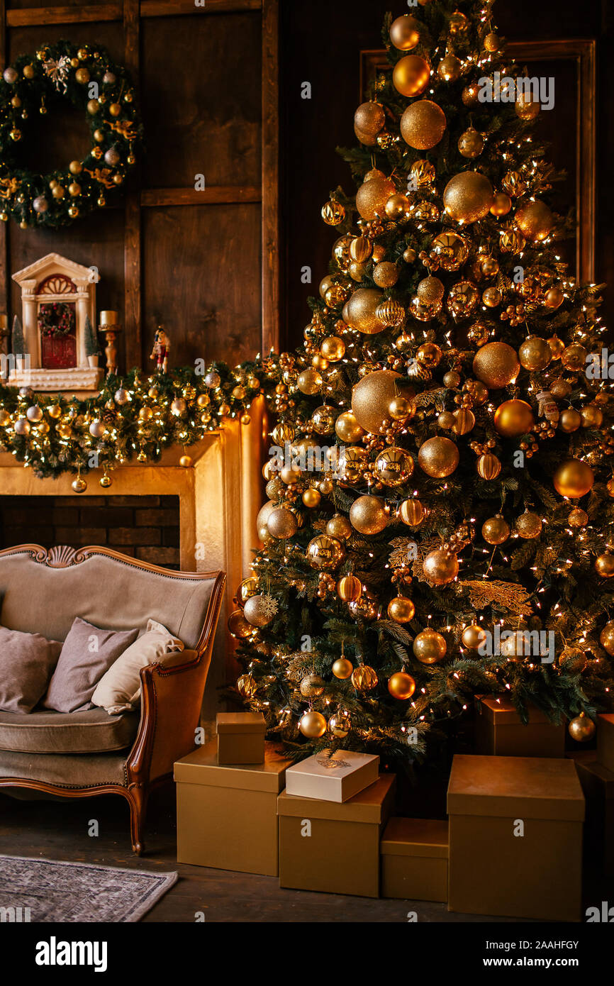 Christmas Background With Illuminated Fir Tree With Golden