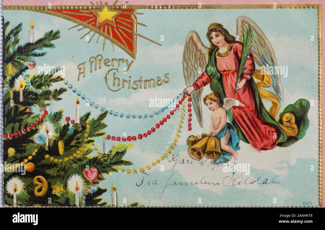 Colorful Angel Decorating A Christmas Tree Vintage Christmas Post Card Mailed Ca 1910 In New York Usa Stock Photo Alamy
