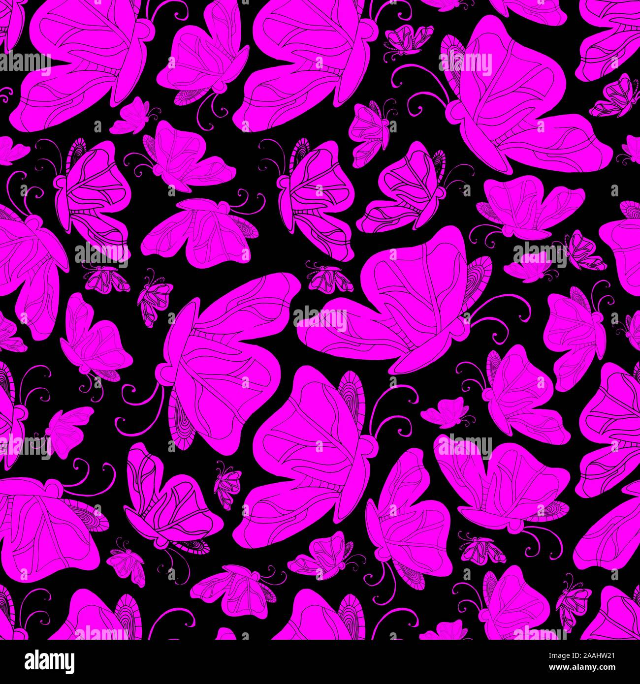 Floral Seamless Pattern With Cute Pink Butterflies Isolated On