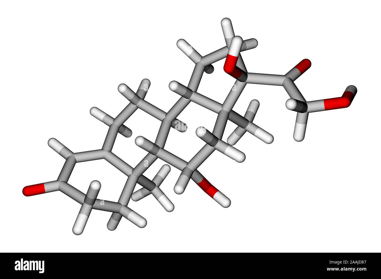 Cortisol sticks molecular model Stock Photo