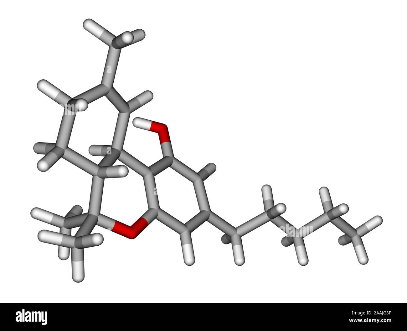 Tetrahydrocannabinol sticks molecular model Stock Photo