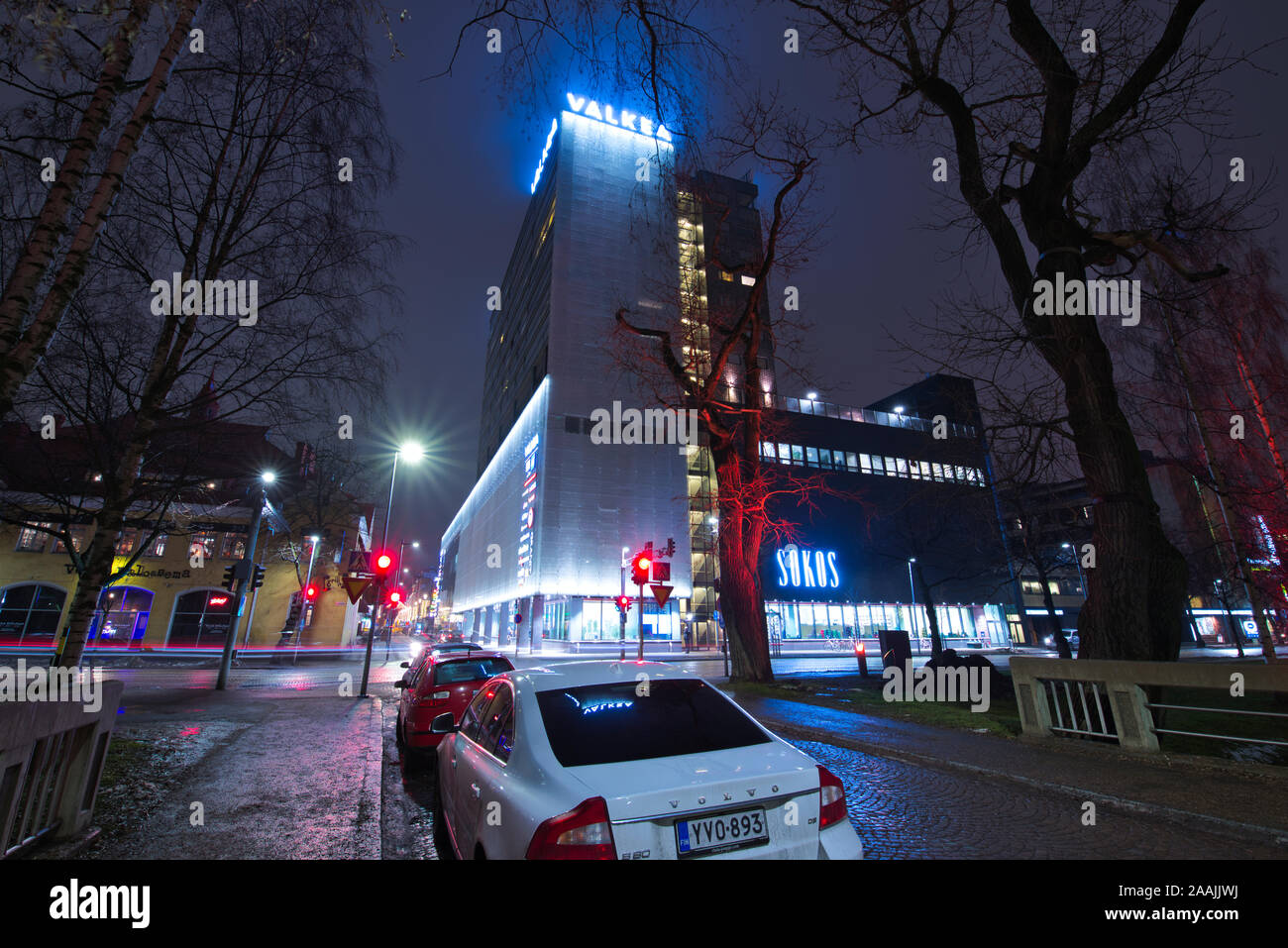 Valkea shopping centre with christmas lights, Oulu, Finland Stock Photo