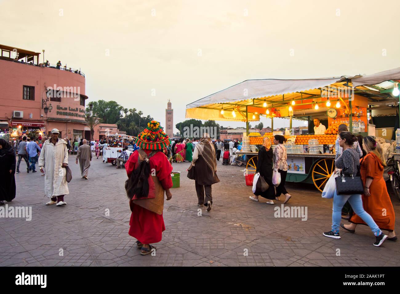 Stalls selling freshly squeezed orange juice. Djemaa el-Fna Square, Marrakech. Morocco - Stock Photo