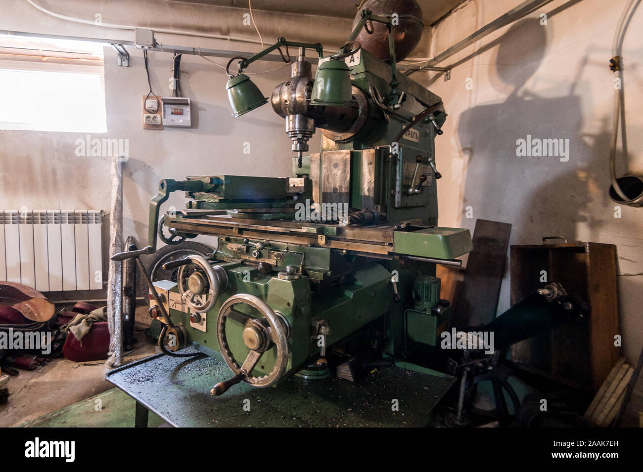 Russia Moscow July 06 2019 Interior Machines In Garage Workshop Old Machinery Repair And Production Equipment Stock Photo Alamy