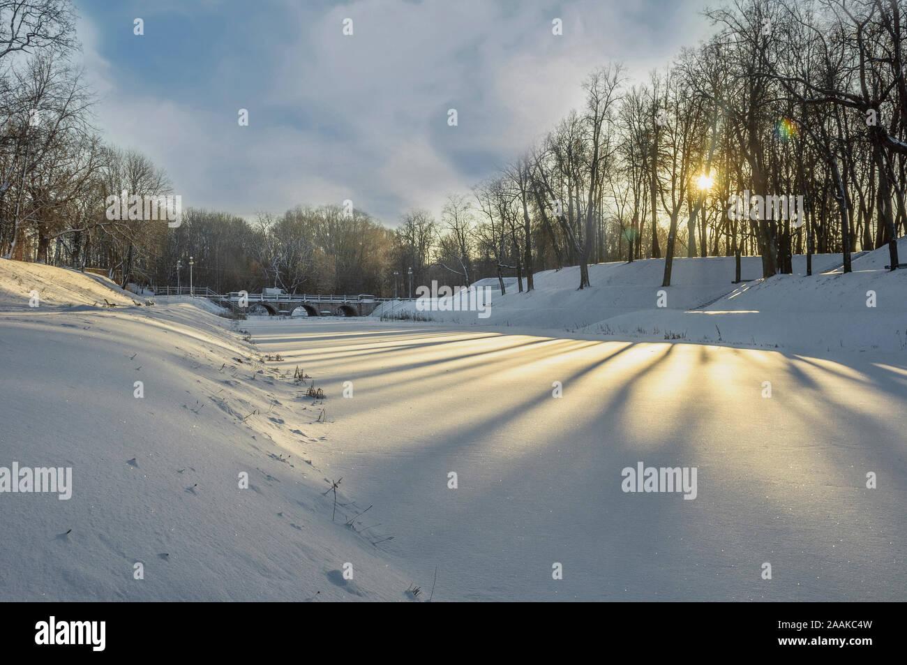 Winter Sunny day in the Park. Gatchina, Leningrad region. Russia. January 6, 2015 Stock Photo