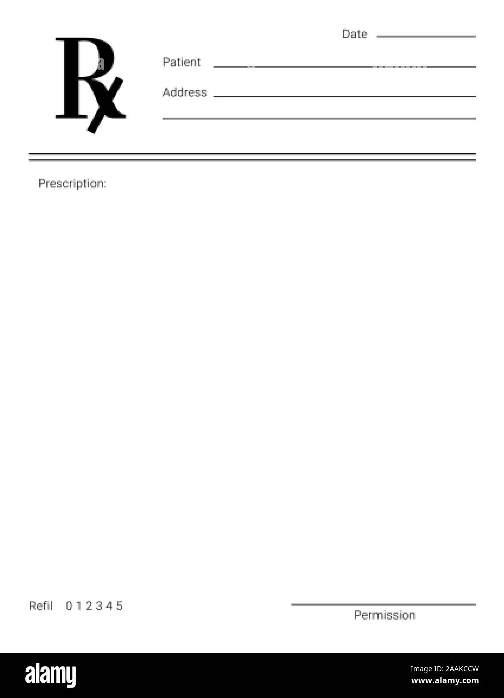 Blank Rx form for medical treatment prescription and drugs list With Regard To Blank Prescription Form Template