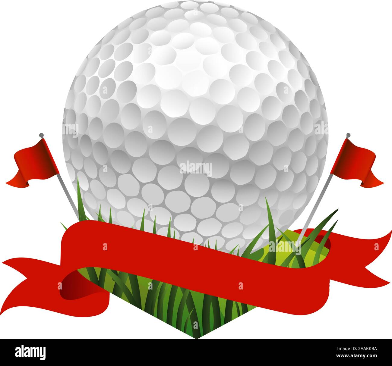 Red Golf Flag Banner With A Golf Ball Stock Vector Image Art Alamy