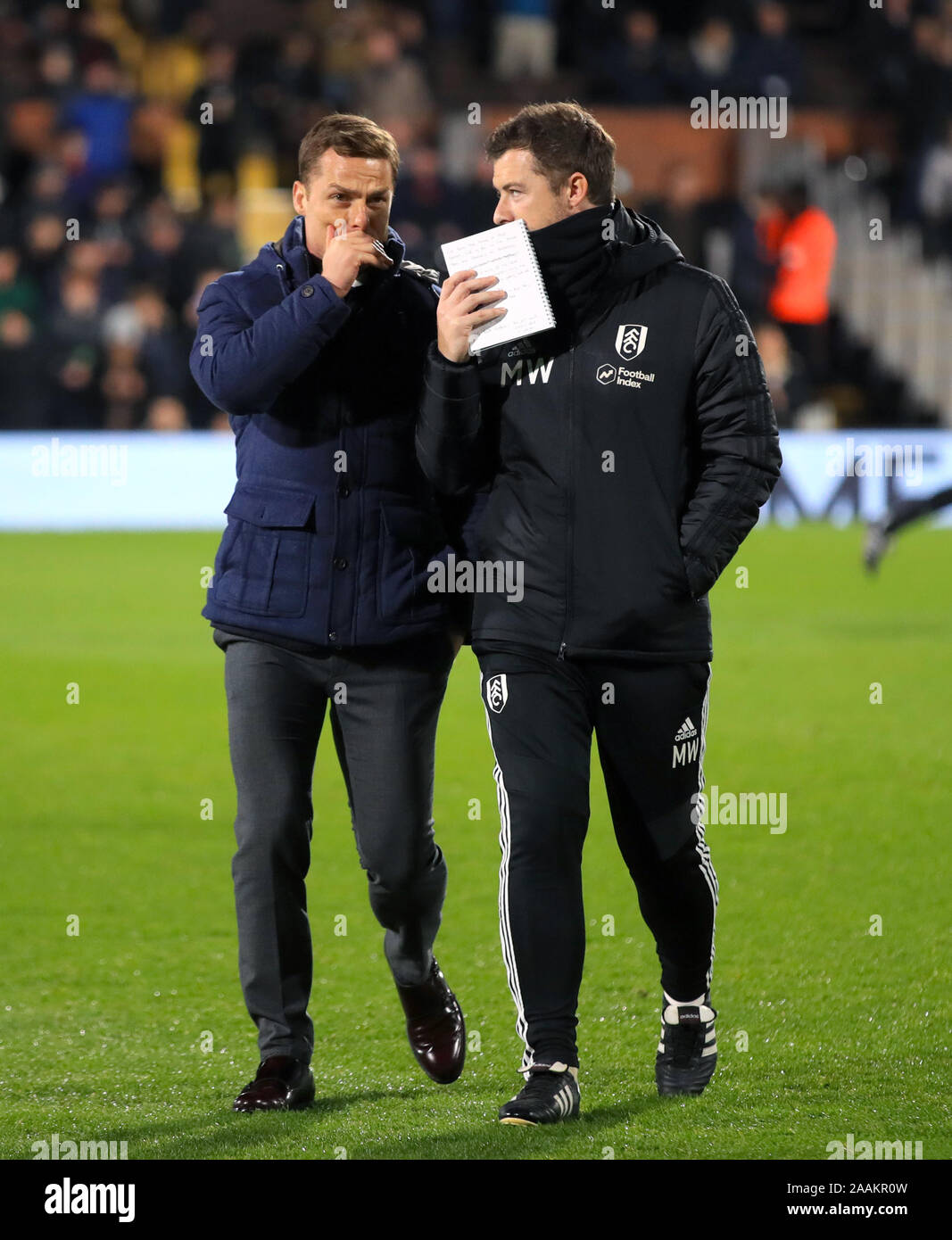 Fulham Manager Scott Parker Left And First Team Coach Matt Wells During The Sky Bet Championship Match At Craven Cottage London Stock Photo Alamy