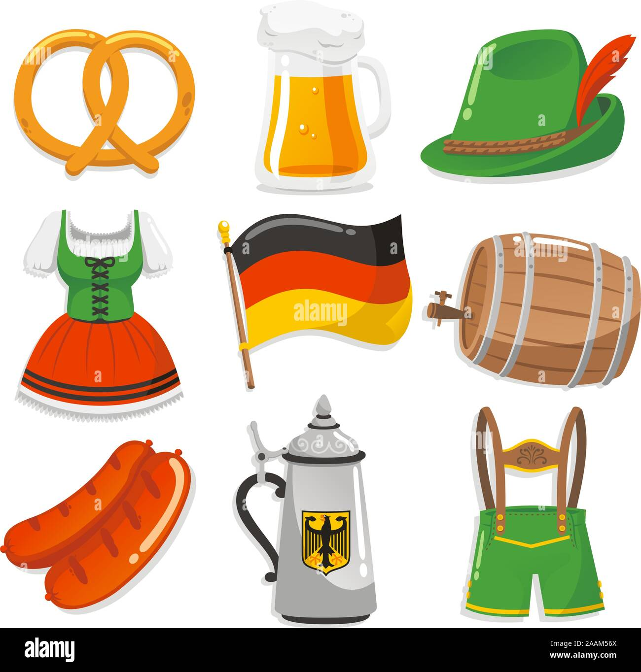 Oktoberfest Design Elements Icons, with pretzel, beer chop, Tyrollean hat with feather, Short waitress dress, German Flag, Beer barrel, sausage, waiter - Stock Photo