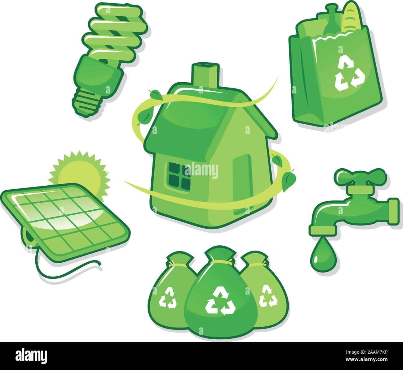 Ecologic Ecologist Ecology Ecological Environmental Life Icons, with ecology light bulb, ecology bag, ecology house, ecology solar panel, ecology Stock Vector
