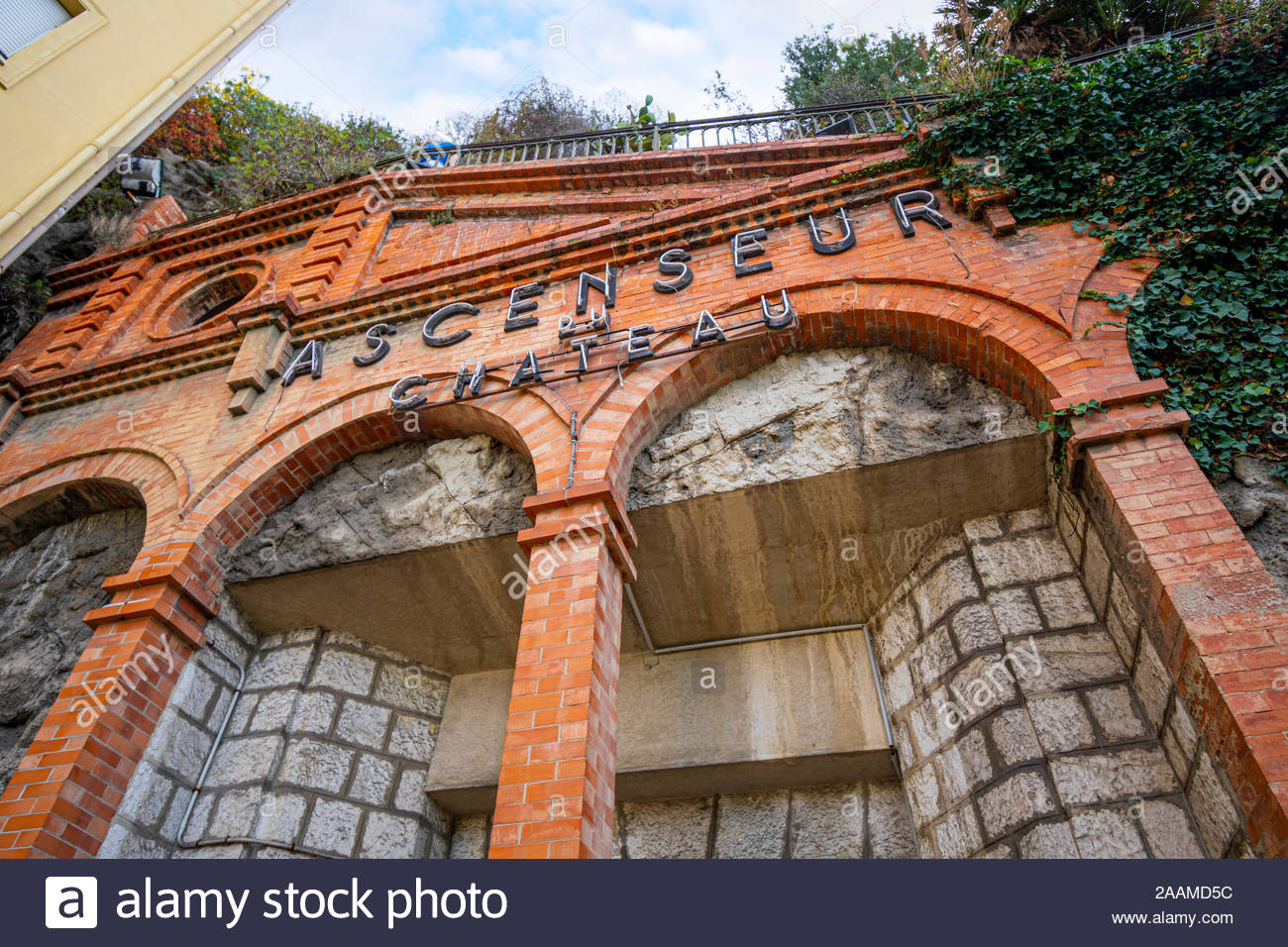 The exterior entrance to the elevator lift on Castle Hill in Nice, France. Stock Photo