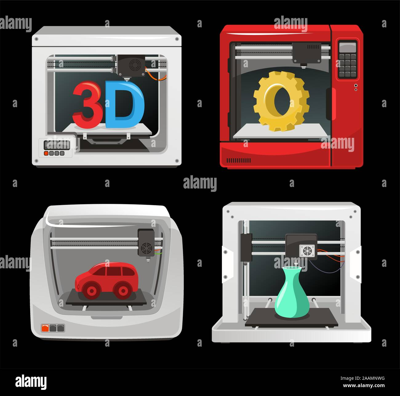 3D Printer Set, with computer software, computer three dimensional set. Digitally generated image vector illustration cartoon. Stock Vector