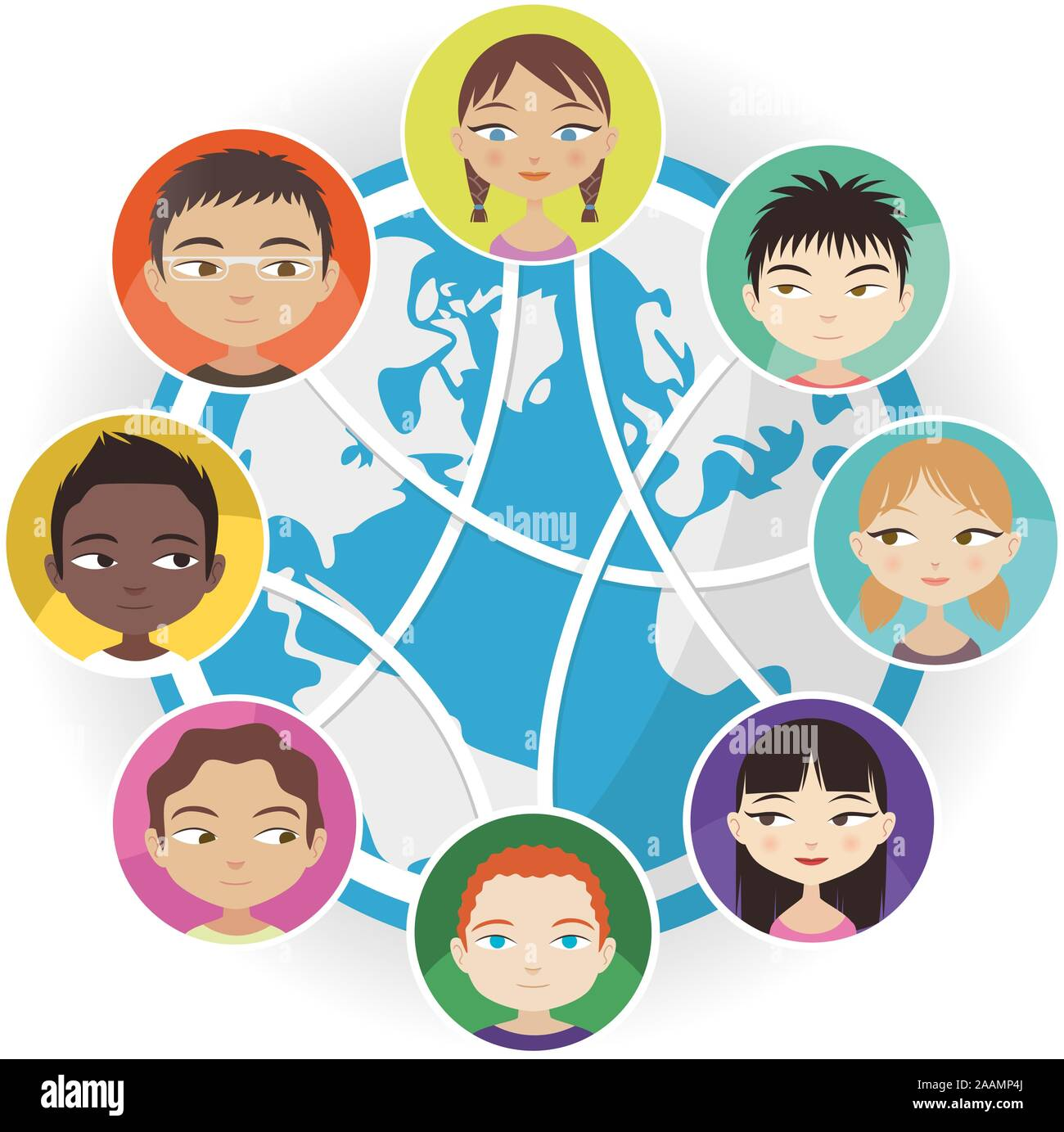 Global Communication Social Media People Worldwide Connected Vector Illustration Cartoon Stock Vector Image Art Alamy