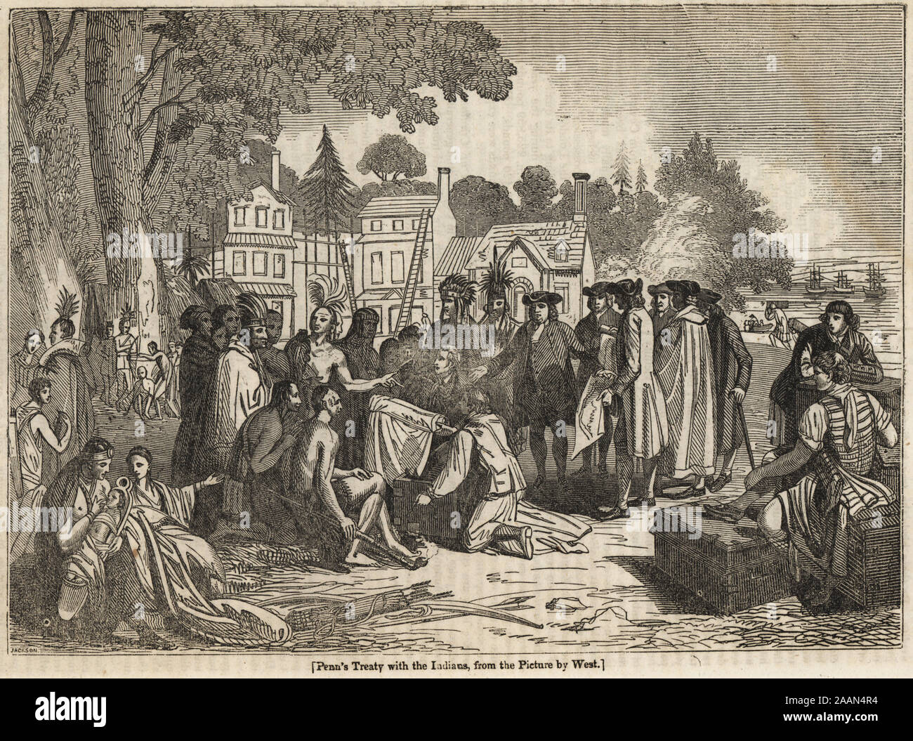 William Penn with Chief Tamanend of the Lenape Delaware Nation under an elm tree in Shackamaxon, Pennsylvania, 1683. William Penn's Treaty with the Indians, from the painting by Benjamin West. Woodblock engraving by J. Jackson from The Penny Magazine, of the Society for the Diffusion of Useful Knowledge, printed by William Clowes, Lambeth, 1833. Stock Photo