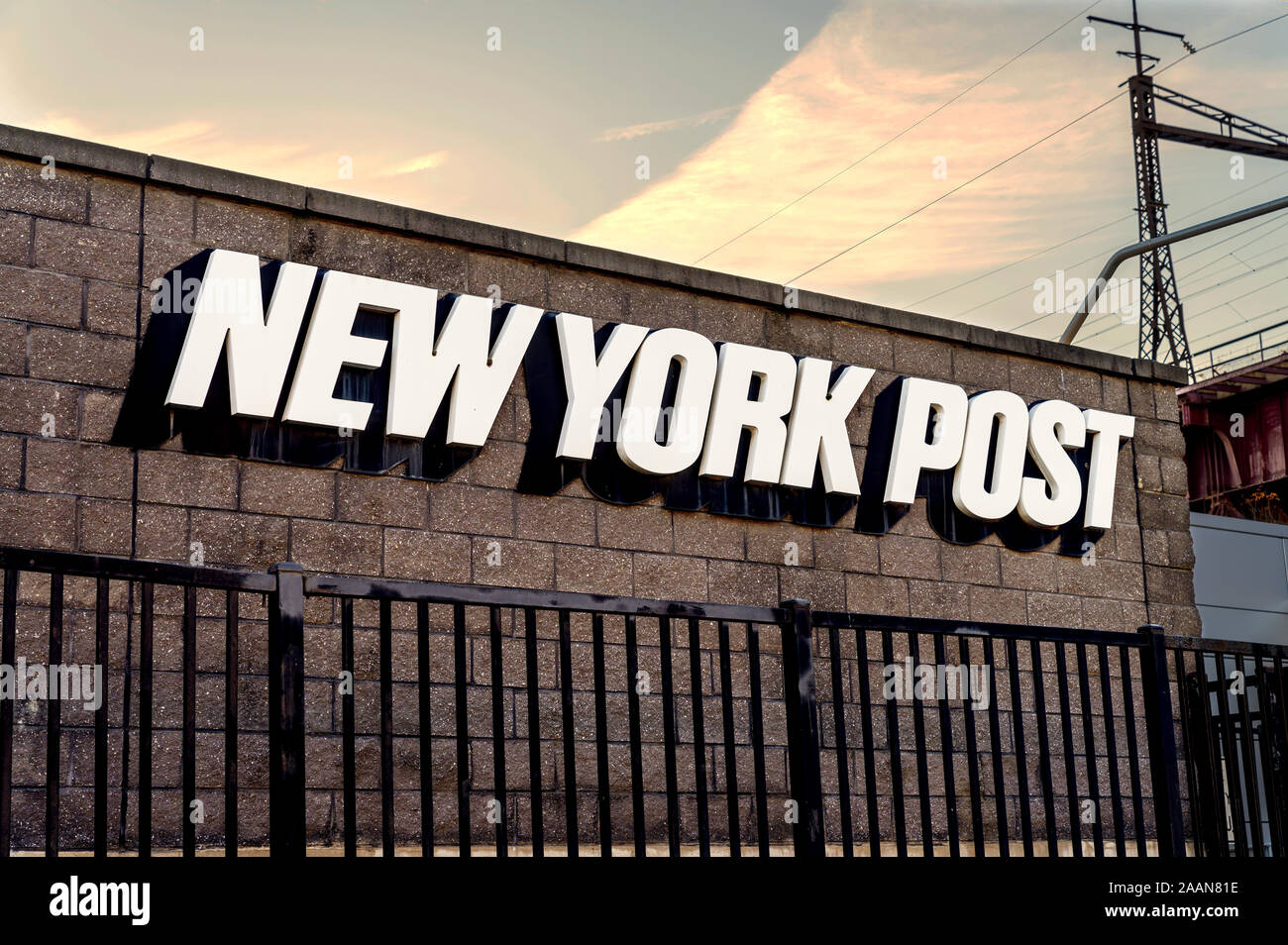 Bronx, NY/USA - 11/09/2019: The New York Post Building on East 132nd Street in the Bronx Stock Photo