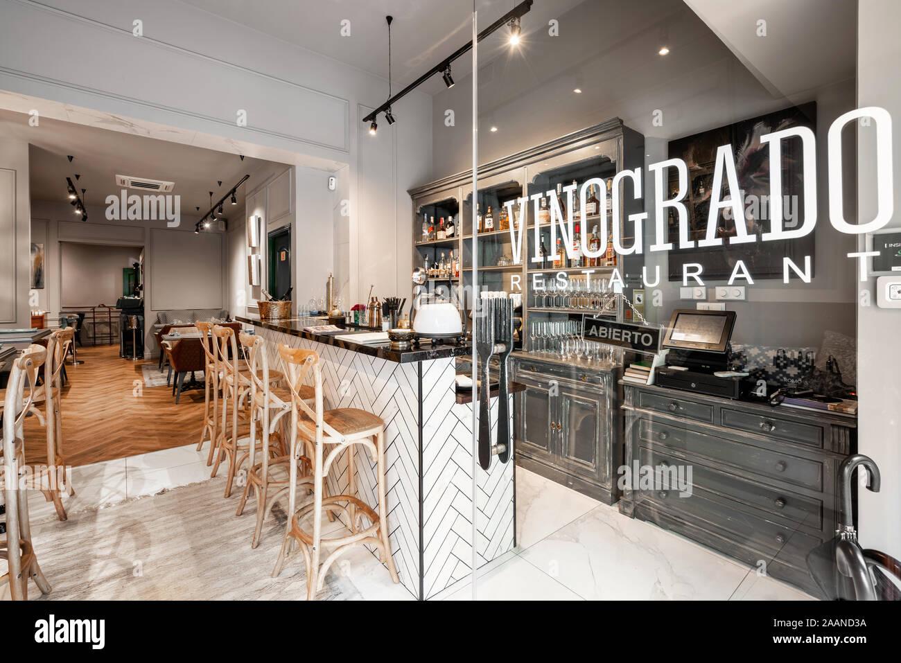Spain Barcelona October 22 2019 Restaurant Vinogrado Restaurant And Bar Interior Modern European Small Cozy Restaurant Stock Photo Alamy