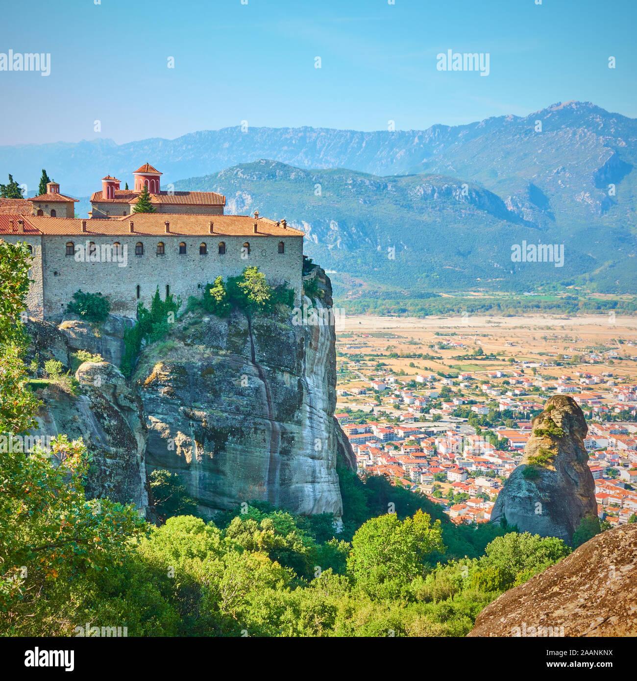 The Monastery of St. Stephen in Meteora, Greece - Greek landmark Stock Photo