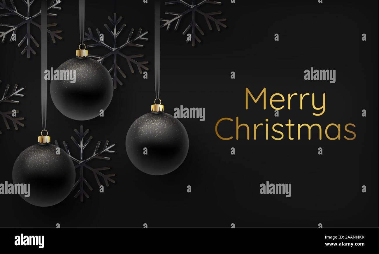 Merry Christmas 2020 3d Ornament Realistic 3d illustration of black shimmering metallic snowflake