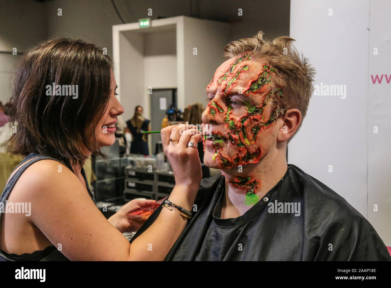 Coventry, UK. 23rd Nov, 2019. The sixth annual event billed as The educational event for Prosthetic and media make up was held in Coventry Ricoh Arena A day full of talks and advice from top film industry professionals, beautiful body art, extraordinary exhibits, exciting competitions and shopping with leading specialist retailers. This is our sixth annual event which since its small beginnings has grown into THE annual makeup FX gathering Credit: Paul Quezada-Neiman/Alamy Live News Stock Photo