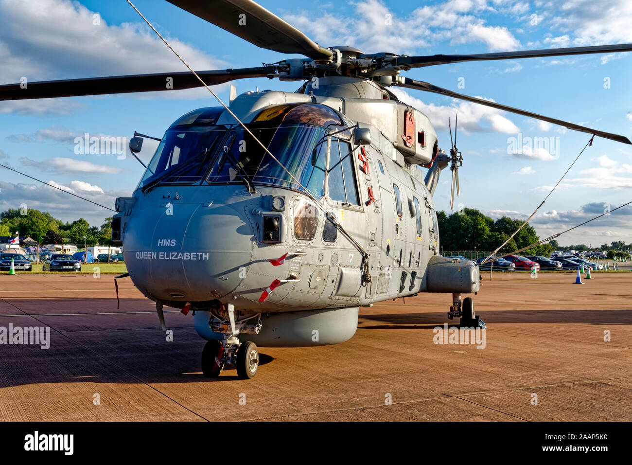 A Royal Navy 814 Naval Air Squadron, AgustaWestland Merlin HM2 Helicopter based at RNAS Culdrose in Cornwall at the RIAT, RAF Fairford, 2019 Stock Photo