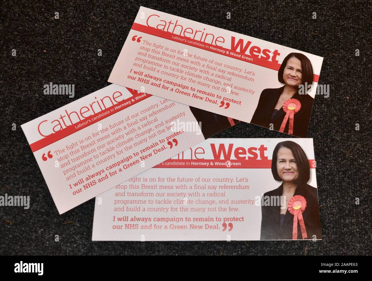 election leaflets for catherine west of labour and dawn barnes of liberal democrats wood green and hornsey parliamentary candidates for the general el Stock Photo