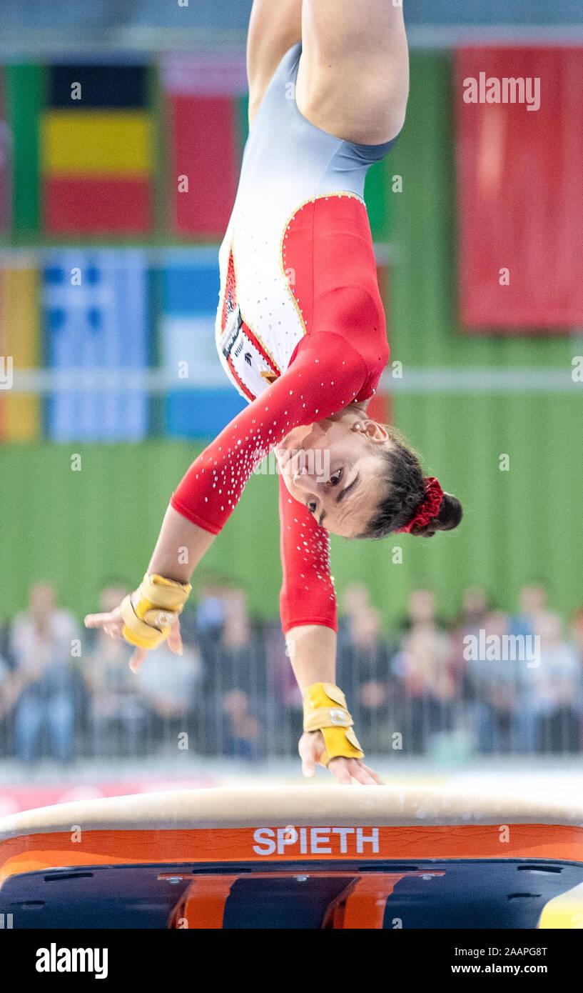 Cottbus, Germany. 23rd Nov, 2019. Gymnastics: World Cup, 44th International Tournament of Champions, Women's Final: Gymnast Lisa Zimmermann from Germany jumping. Credit: Monika Skolimowska/dpa-Zentralbild/dpa/Alamy Live News Stock Photo