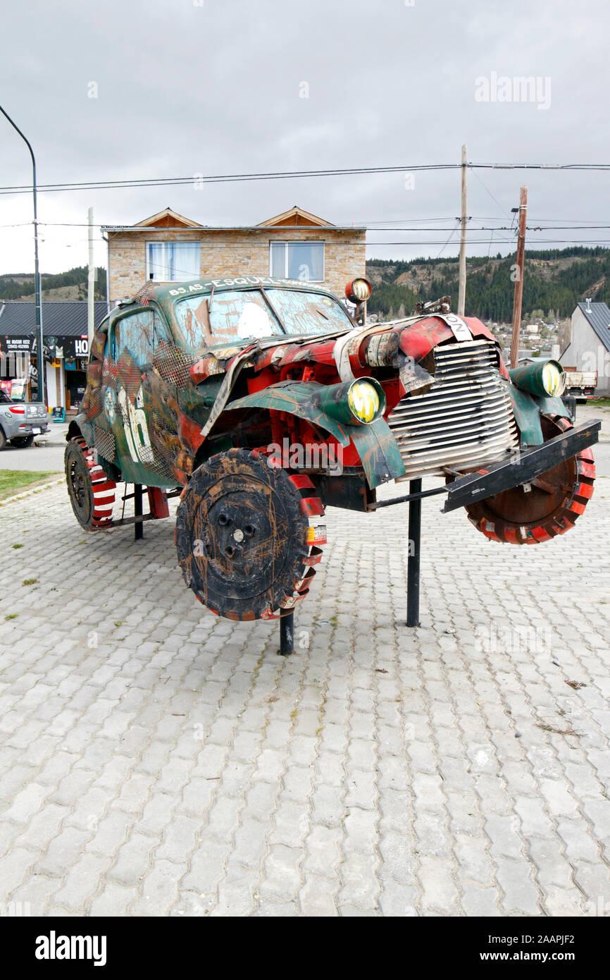1940 Chevrolet monument to the Gran Premio del Sur 1942 in Argentina. Stock Photo