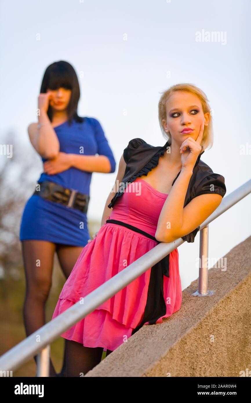 Girlfriends teens girls teenagers two girl teen girl teenager Stock Photo