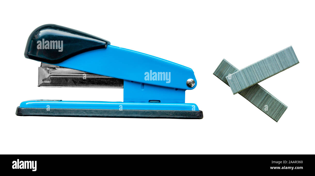 Isolated Blue Stapler And Staples On A White Background Stock Photo