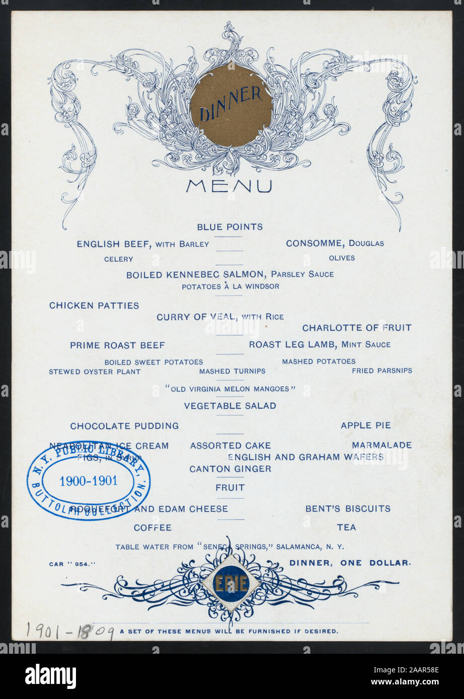 1809 Menu dinner (held by) erie railroad (-) (at) enroute along the