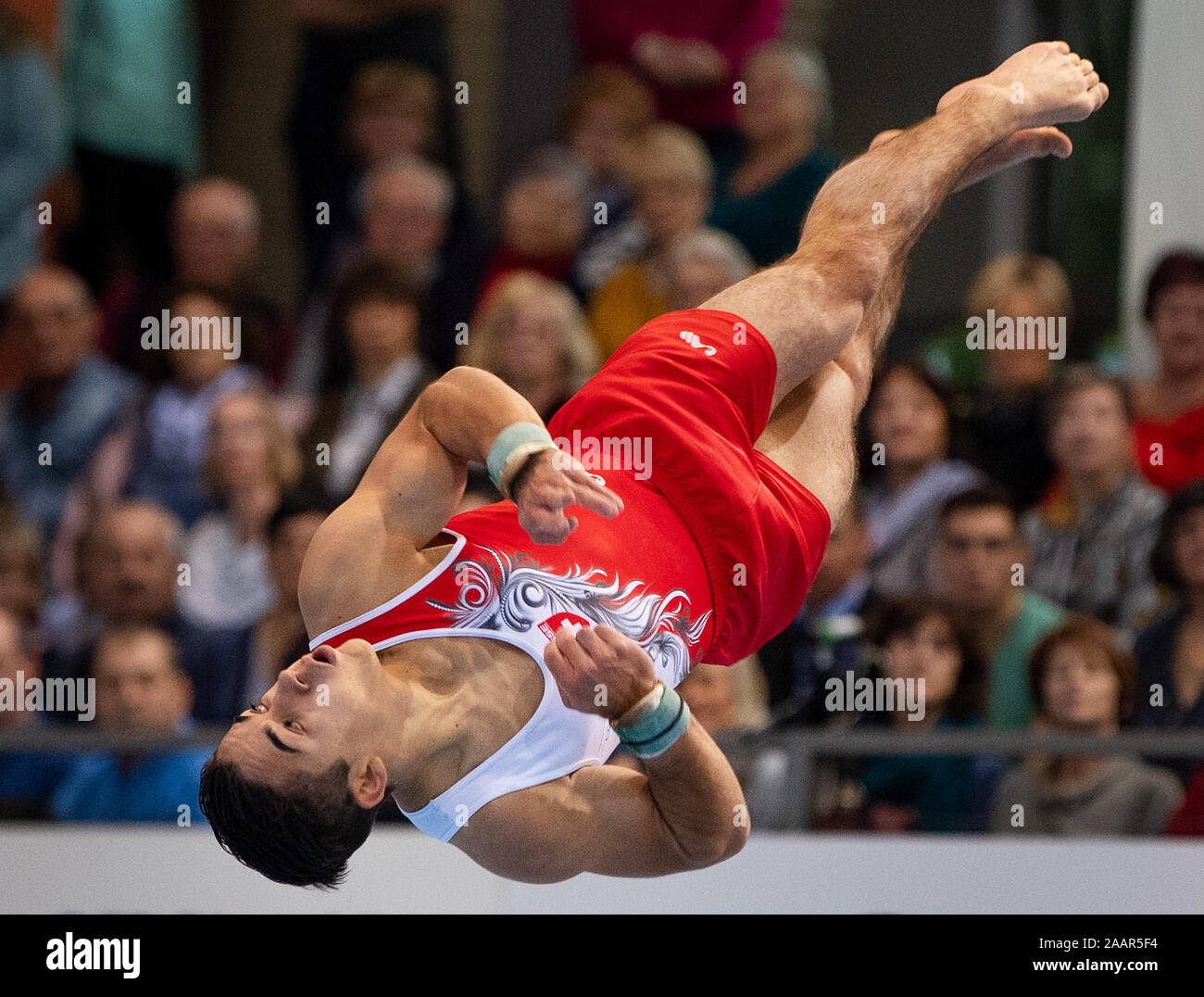 Cottbus, Germany. 23rd Nov, 2019. Gymnastics: World Cup, 44th International Champions' Tournament, Men's Final: Gymnast Andren Frey from Switzerland performs on the ground. Credit: Monika Skolimowska/dpa-Zentralbild/dpa/Alamy Live News Stock Photo