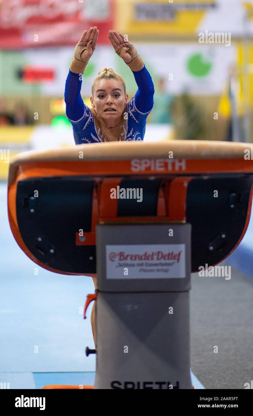 Cottbus, Germany. 23rd Nov, 2019. Gymnastics: World Cup, 44th International Tournament of Champions, Women's Final: Gymnast Maria Paseka from Russia jumping. Credit: Monika Skolimowska/dpa-Zentralbild/dpa/Alamy Live News Stock Photo