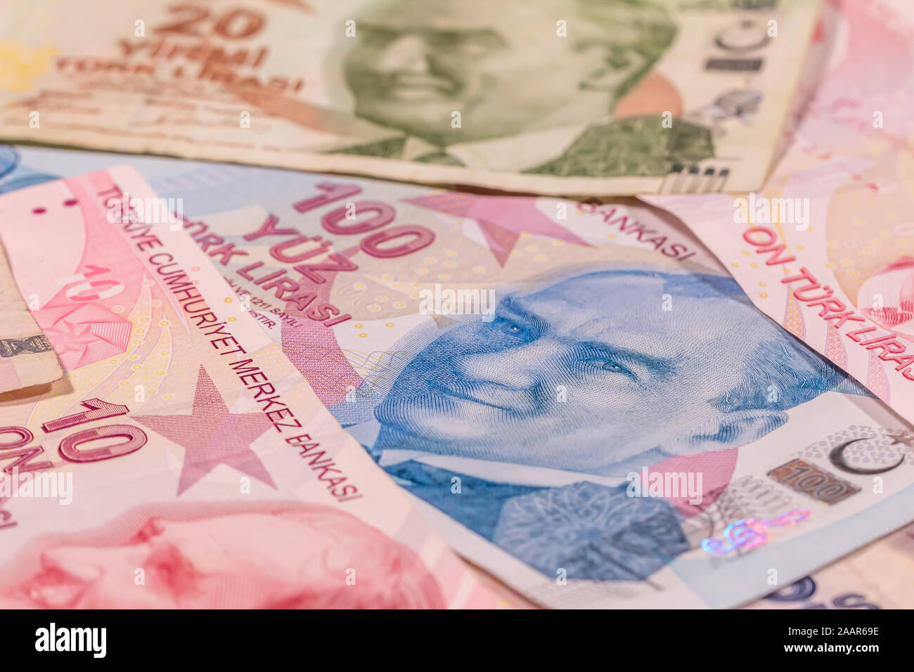 A composition of Turkish lira TL. TRY banknotes providing great options to be used for illustrating subjects as business, banking, media, etc. Stock Photo
