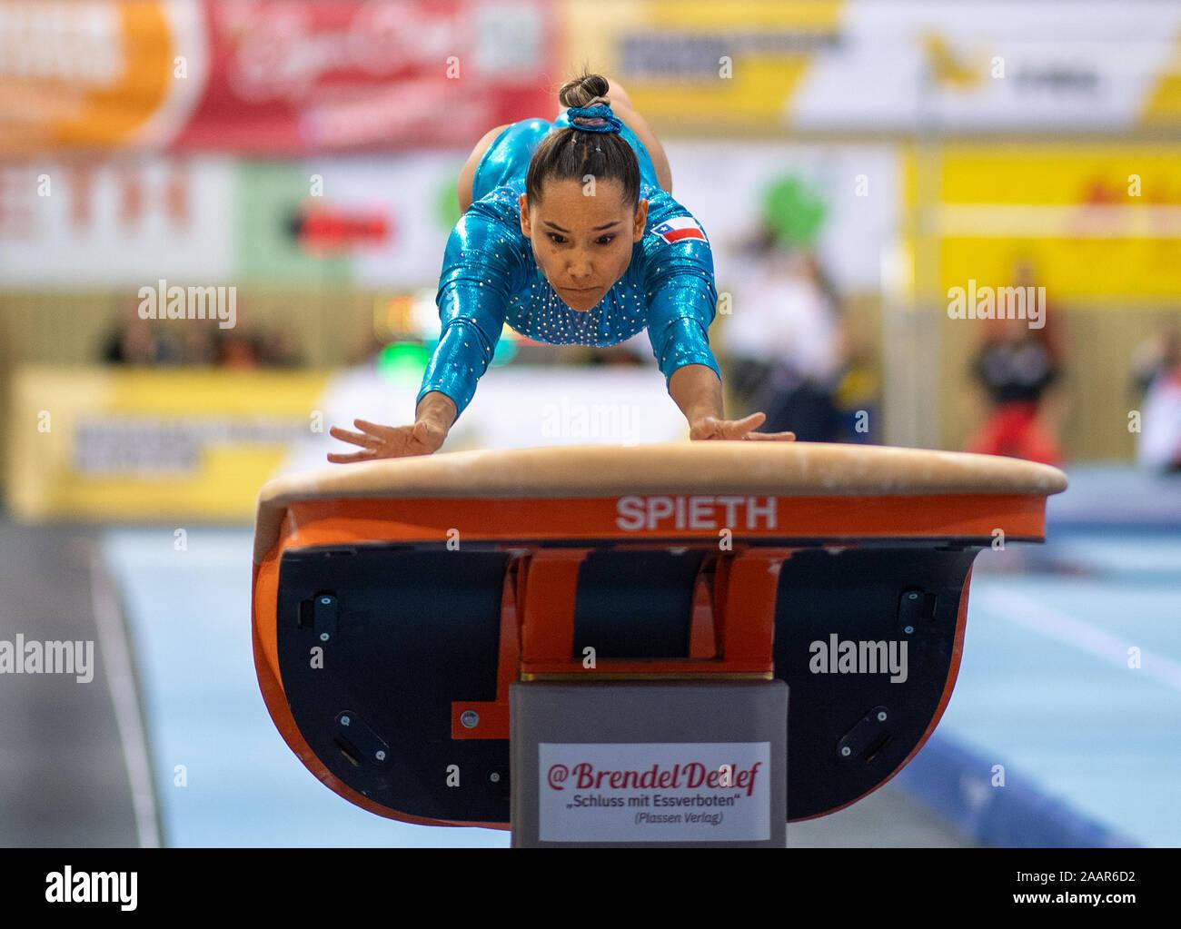Cottbus, Germany. 23rd Nov, 2019. Gymnastics: World Cup, 44th International Tournament of Champions, Women's Final: Gymnast Makarena Pinto Adasme from Chile jumping. Credit: Monika Skolimowska/dpa-Zentralbild/dpa/Alamy Live News Stock Photo