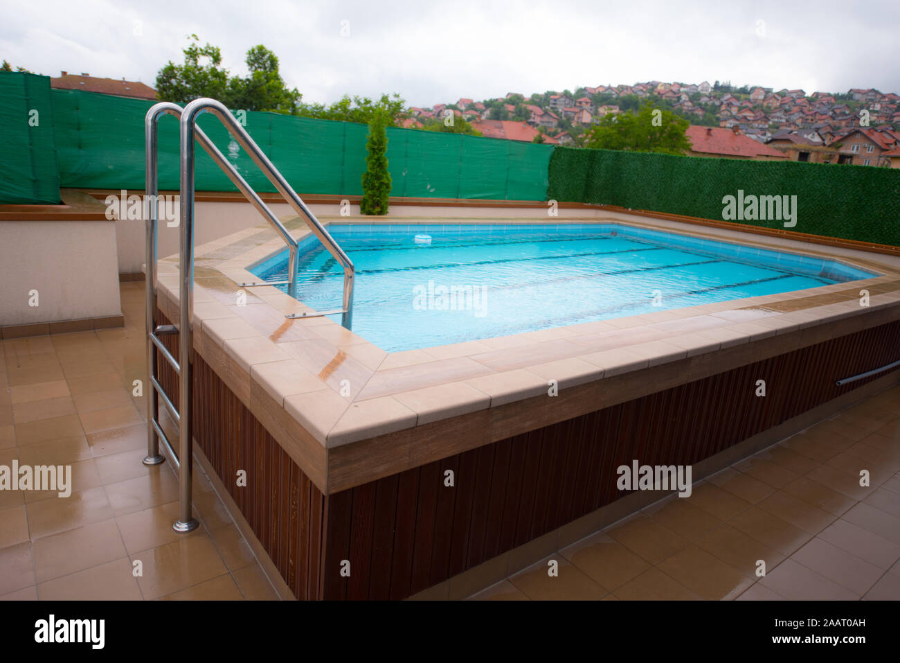 Small Swimming Pool On The Roof Private Modern Villa House Stock Photo Alamy