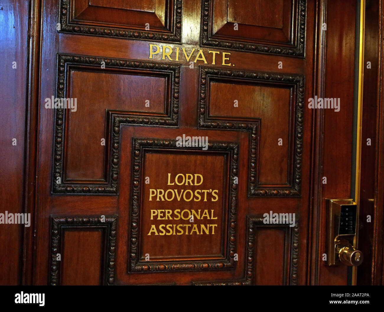 Office of Lord Provosts Personal Assistant, Glasgow City Chambers, George Square, Glasgow, Scotland,UK, G2 1AL Stock Photo